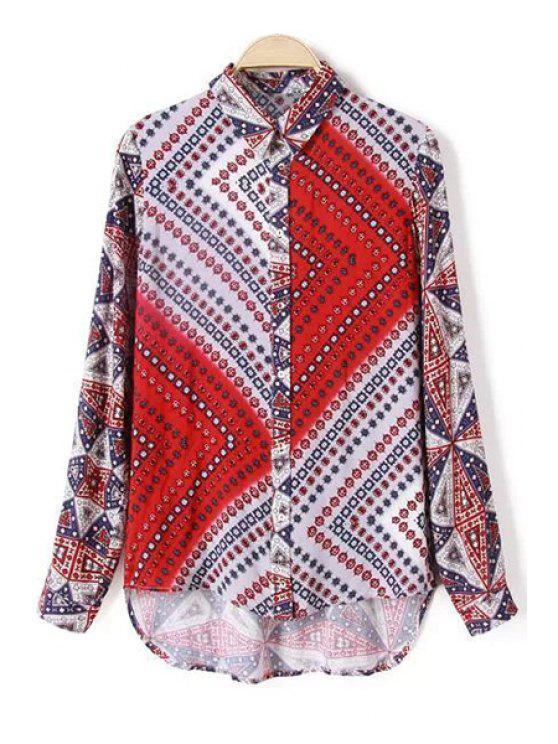 women's Polo Collar Stripe Abstract Print Long Sleeve Shirt - COLORMIX S