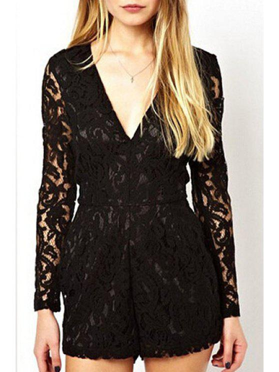 chic Lace Black Plunging Neck Long Sleeve Playsuit - BLACK S