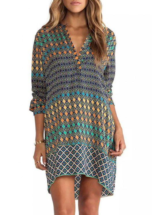 unique Colorful Round Pattern Long Sleeve Dress - COLORMIX S