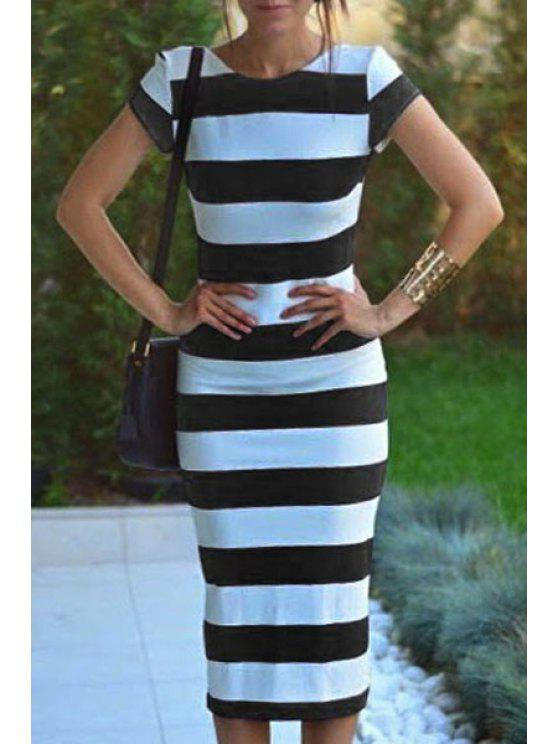 outfits Striped Short Sleeve Backless Pencil Dress - WHITE AND BLACK M