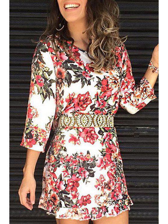 womens Floral Print Jewel Neck 3/4 Sleeve Playsuit - COLORMIX S