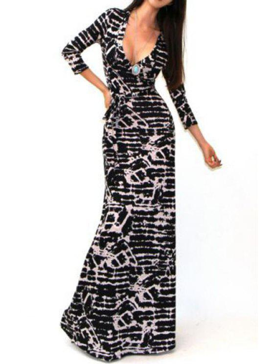 new Plunging Neck 3/4 Sleeve Printed Maxi Dress - BLACK S
