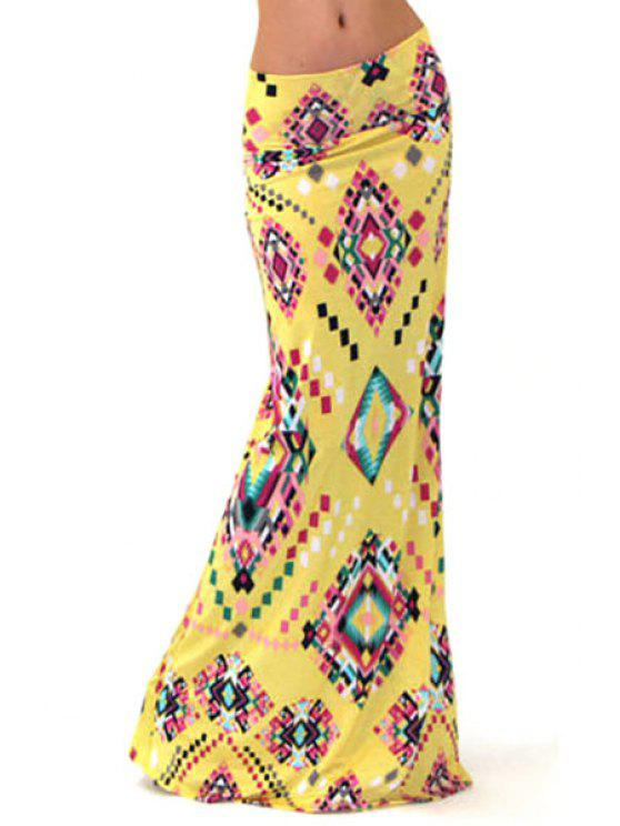 buy Geometric Print Packet Buttocks Long Fishtail Skirt - YELLOW S