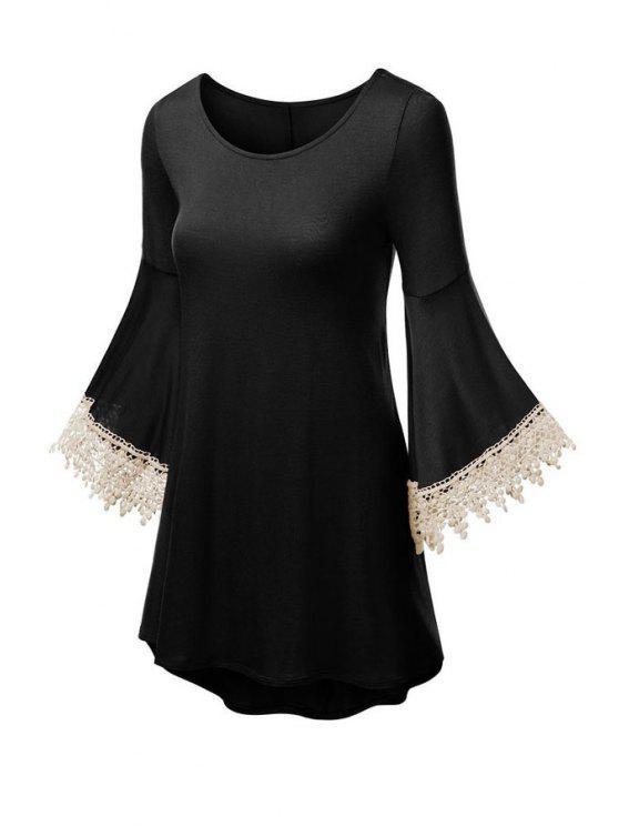 women Solid Color Scoop Neck Flare Sleeve Dress - BLACK L