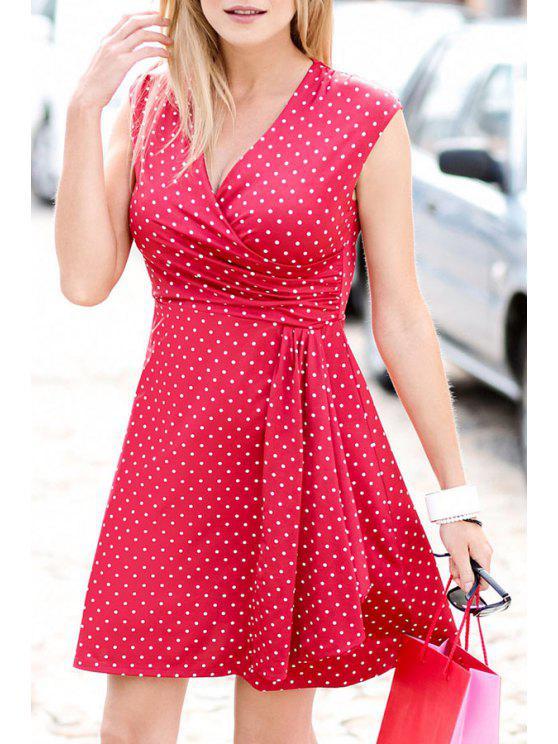 affordable Polka Dot Print V Neck Sleeveless Dress - RED S
