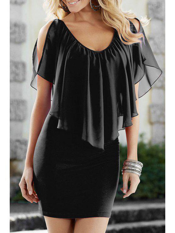 outfits Chiffon Ruffles Spliced V Neck Dress - BLACK S