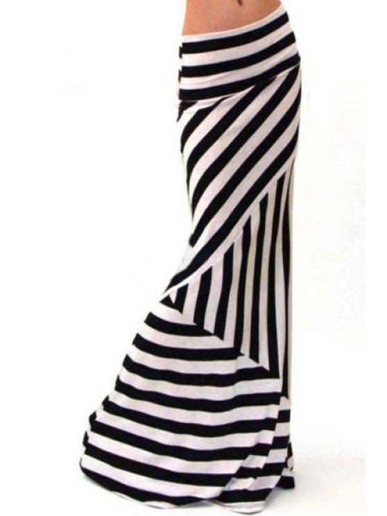 shop Stripes Packet Buttocks Long Fishtail Skirt - WHITE AND BLACK XL