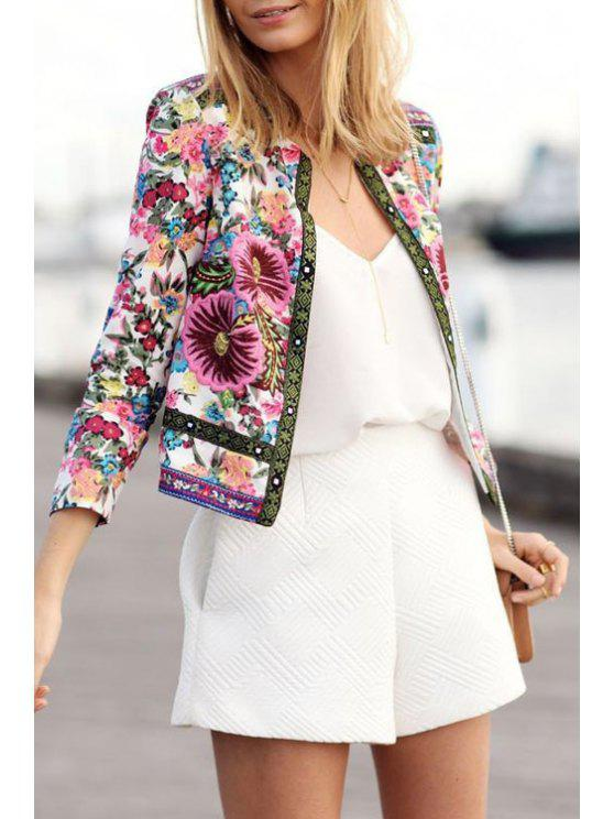 affordable Jewel Neck Colorful Floral Print Coat - COLORMIX S
