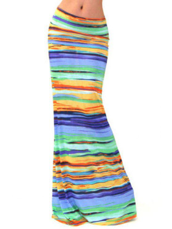 sale High-Waisted Striped Colorful Long Fishtail Skirt - COLORMIX S