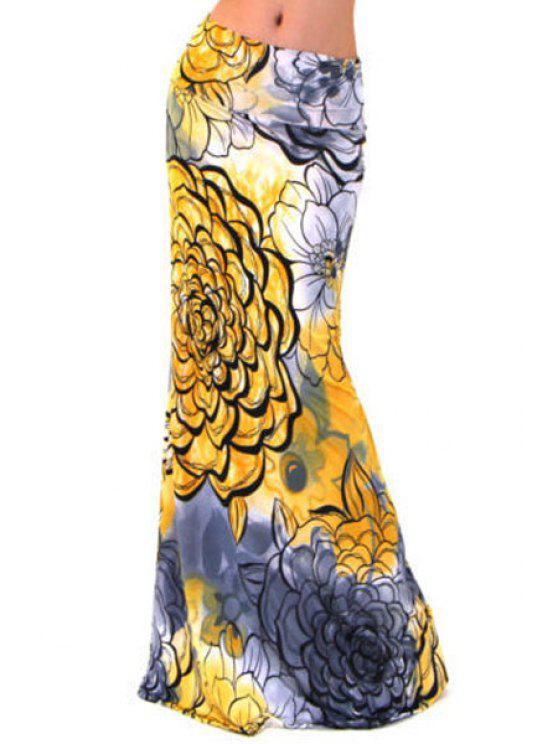 hot Floral Print Packet Buttocks Long Fishtail Skirt - YELLOW S
