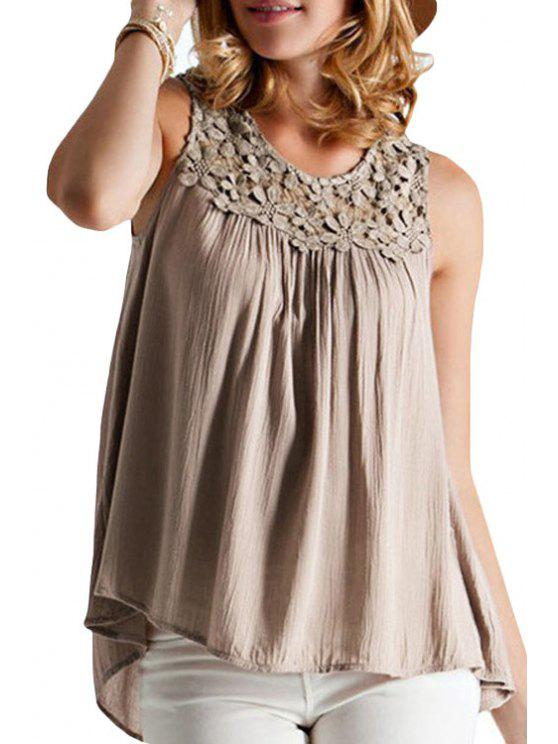 outfit Lace Spliced Lace-Up Hollow Tank Top - KHAKI S