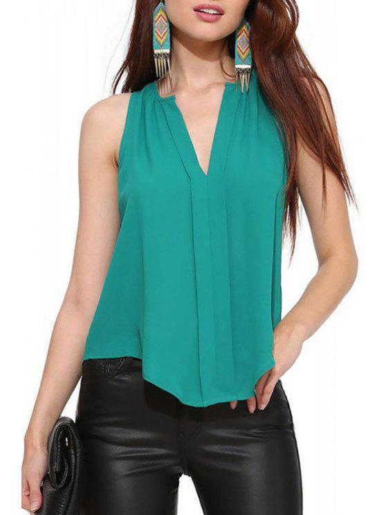 fashion Irregular Hem Green Chiffon Tank Top - GREEN S