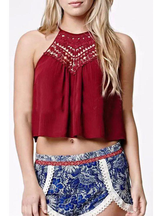 women's Spaghetti Strap Lace Spliced Chiffon Crop Top - WINE RED S
