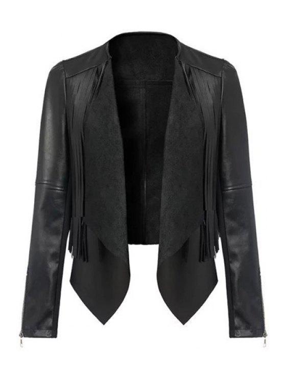 best Long Sleeve PU Leather Black Jacket - BLACK S