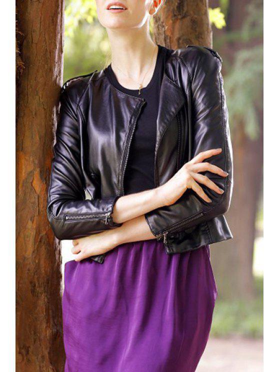 hot PU Leather Black Long Sleeve Zipper Jacket - BLACK S