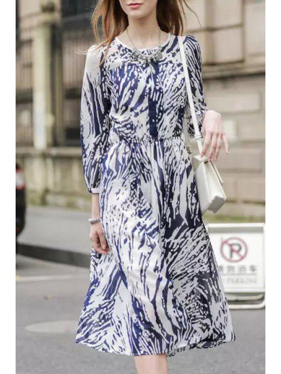 fancy Ink Print Jewel Neck Long Sleeve Dress - PURPLISH BLUE L
