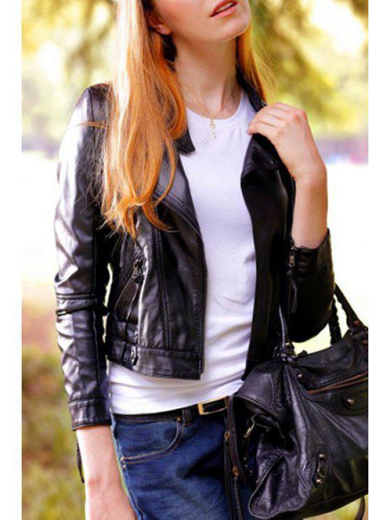 shop Black Long Sleeve Faux Leather Zipper Jacket - BLACK S