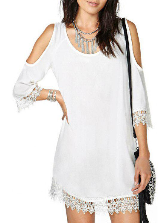 best Half Sleeve Cut Out Laciness White Dress - WHITE S