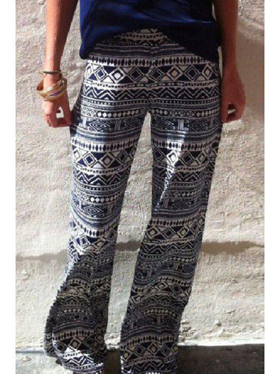 affordable Wide Leg Ethnic Pattern Exumas Pants - WHITE S