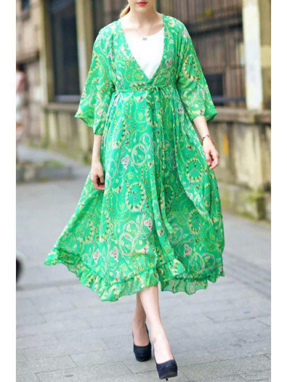 buy Green Plunging Neck 3/4 Sleeve Print Dress - GREEN M