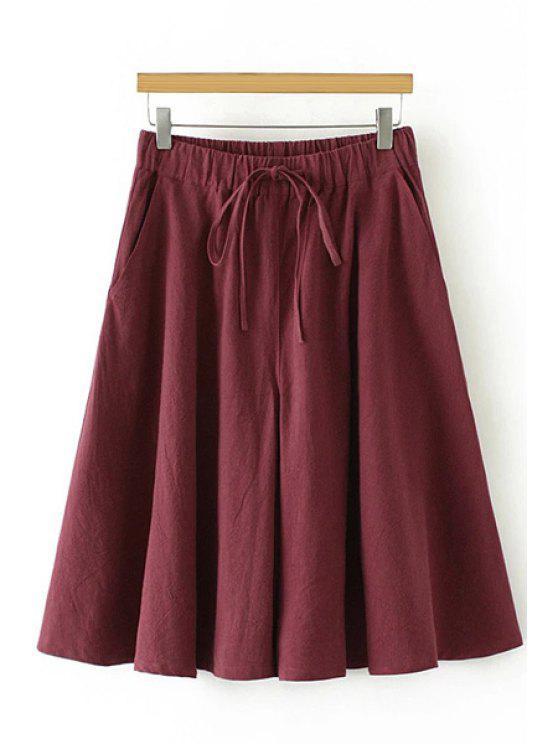 fancy Linen Elastic Waist Drawstring Capri Pants - WINE RED L