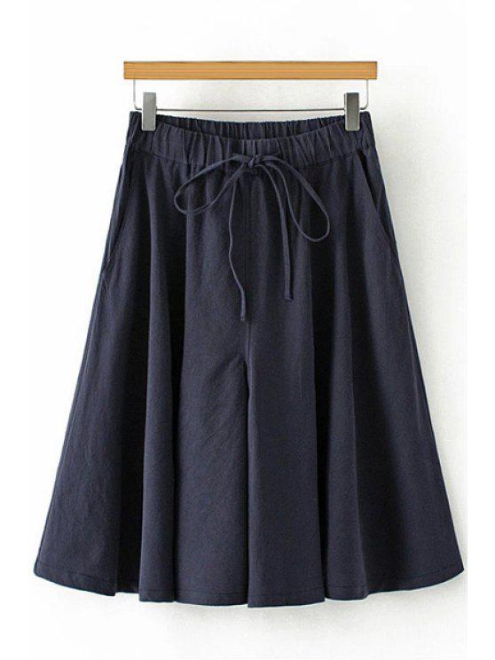 unique Linen Elastic Waist Drawstring Capri Pants - CADETBLUE M