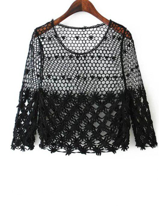 fashion Lace Hollow Out Scoop Neck Blouse - BLACK L