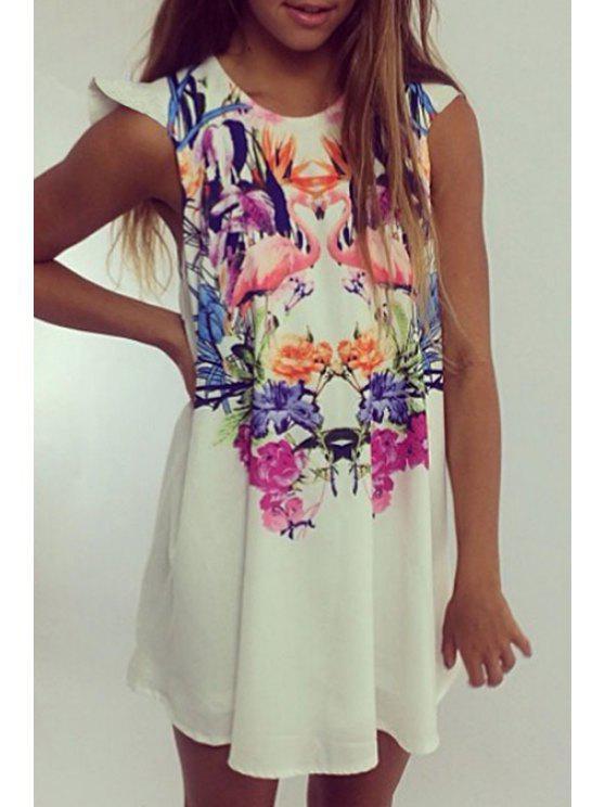 outfits Sleeveless Crane Print Loose Flare Dress - WHITE S