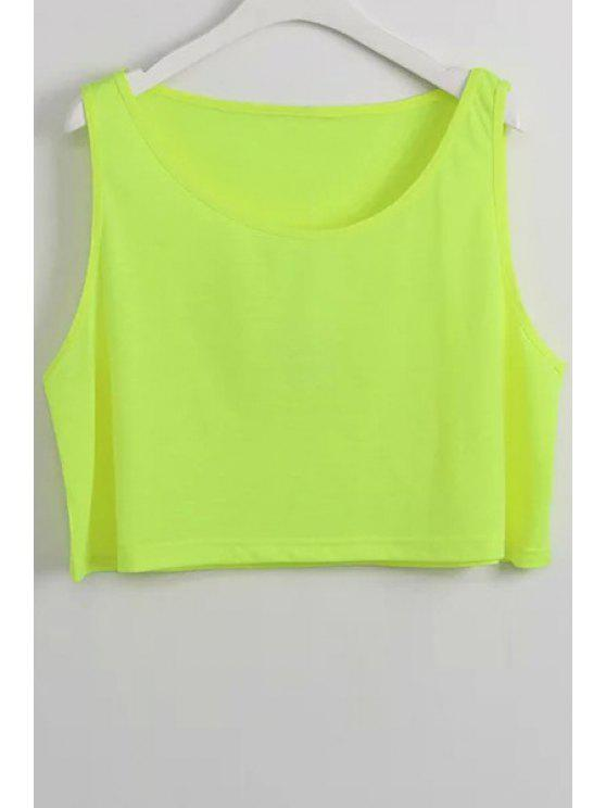 womens Pure Color Scoop Collar Crop Top - YELLOW ONE SIZE(FIT SIZE XS TO M)