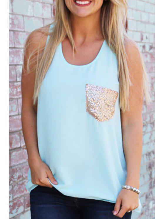 fashion Scoop Neck Sequins Pocket Sleeveless Tank Top - LIGHT BLUE S