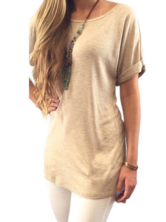 shops Solid Color Back Slit Lace Spliced T-Shirt - KHAKI S