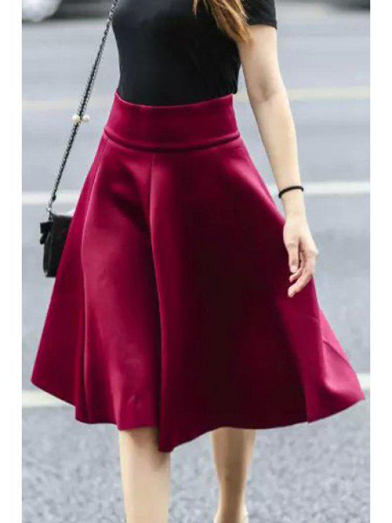 Solid Color Flouncing High Waisted Skirt RED: Skirts S
