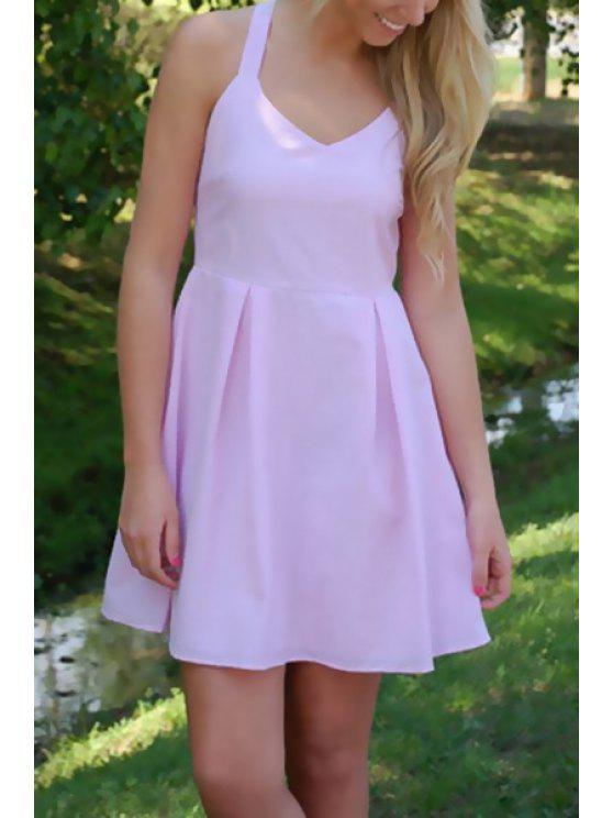 women's Crisscross Back Bowknot Embellished Dress - PINK S