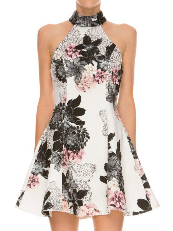 best Ink Floral Print Sleeveless Flare Dress - WHITE S