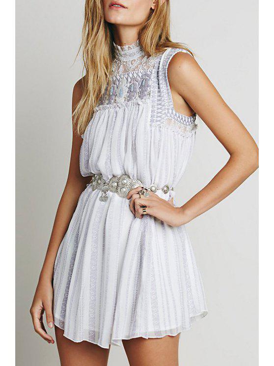 fashion Embroidered Stand Neck Sleeveless Dress - WHITE M