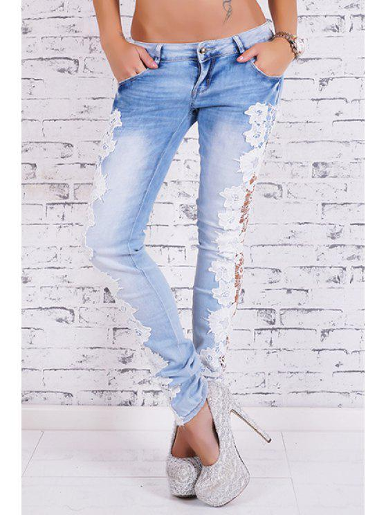 lady Bleach Wash Lace Spliced Pencil Jeans - LIGHT BLUE L