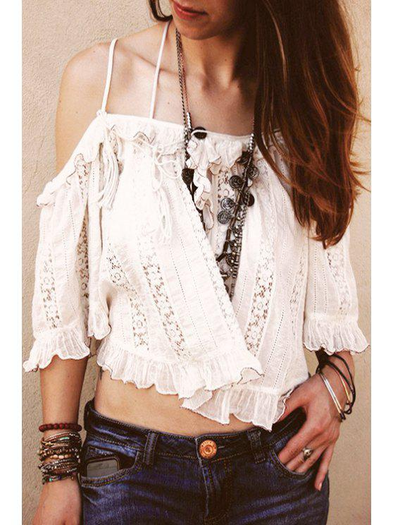 womens White Ruffles Cami Half Sleeve Blouse - WHITE ONE SIZE(FIT SIZE XS TO M)