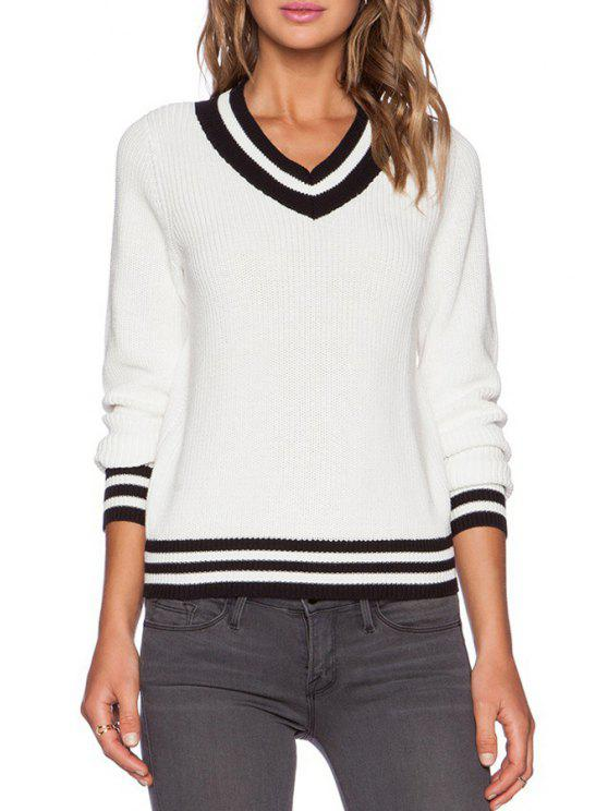 b01db31816 sale Stripes Spliced V Neck Pullover Sweater - WHITE ONE SIZE(FIT SIZE XS TO