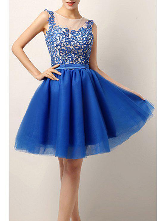 online Blue Lace Splicing Sleeveless Dress - BLUE M