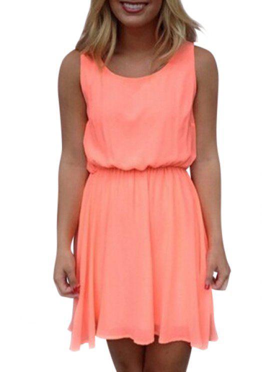 outfits Lace Spliced Openwork Chiffon Dress - ORANGE S