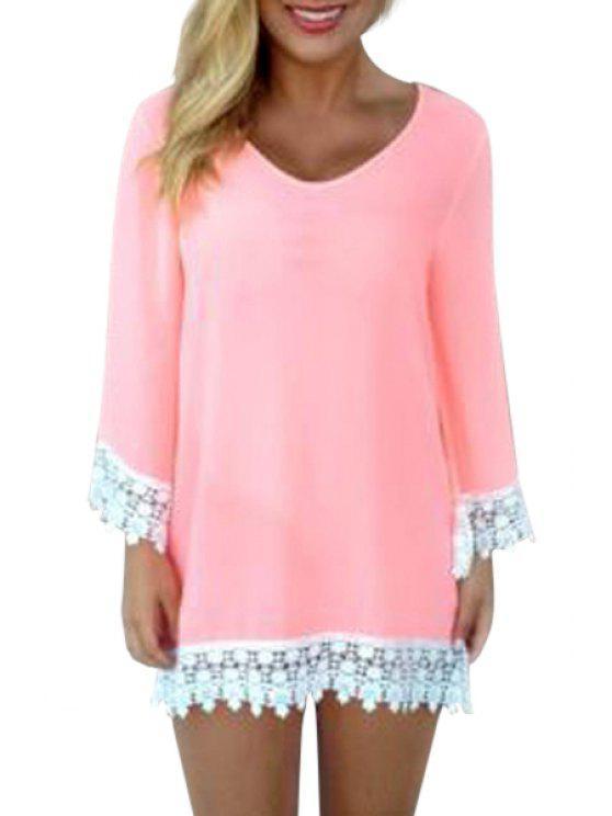 buy Long Sleeve Lace Spliced Chiffon Dress - PINK S