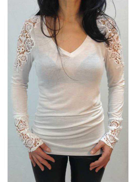 buy Long Sleeve Lace Spliced T-Shirt - WHITE M