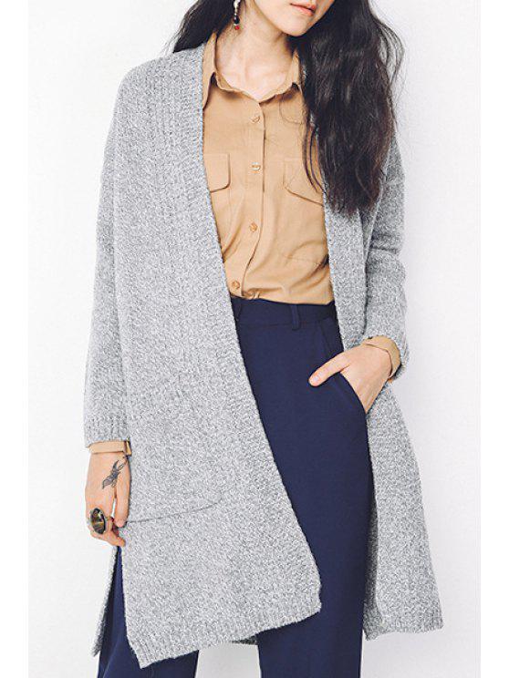 fashion Pocket Design Side Slit Cardigan - GRAY ONE SIZE(FIT SIZE XS TO M)