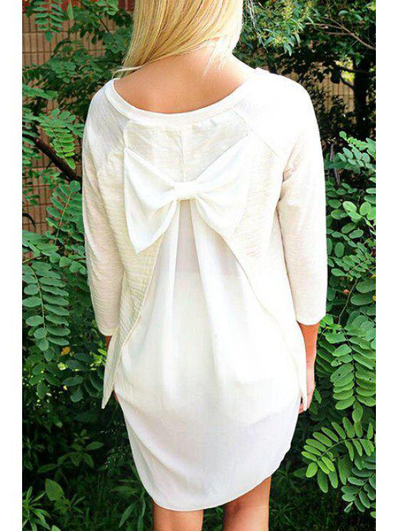 Bowknot Embellished High Low T-Shirt - Blanc XL