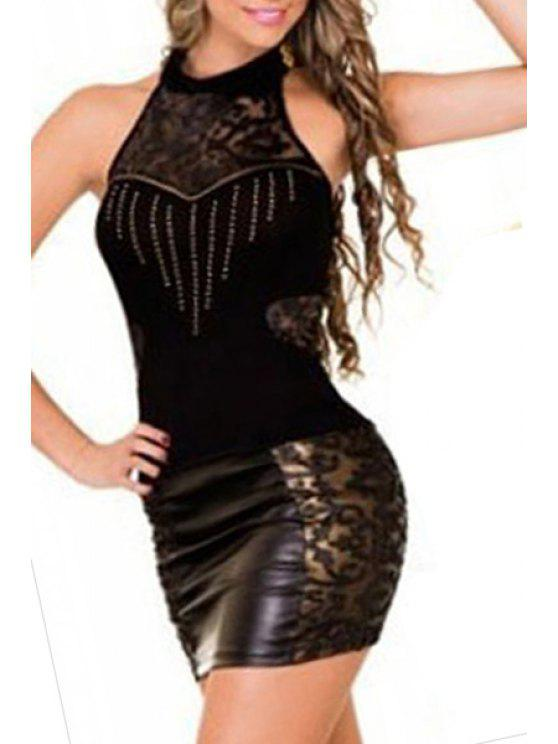 outfits Black Halter Rhinestone Bodycon Dress - BLACK ONE SIZE(FIT SIZE XS TO M)