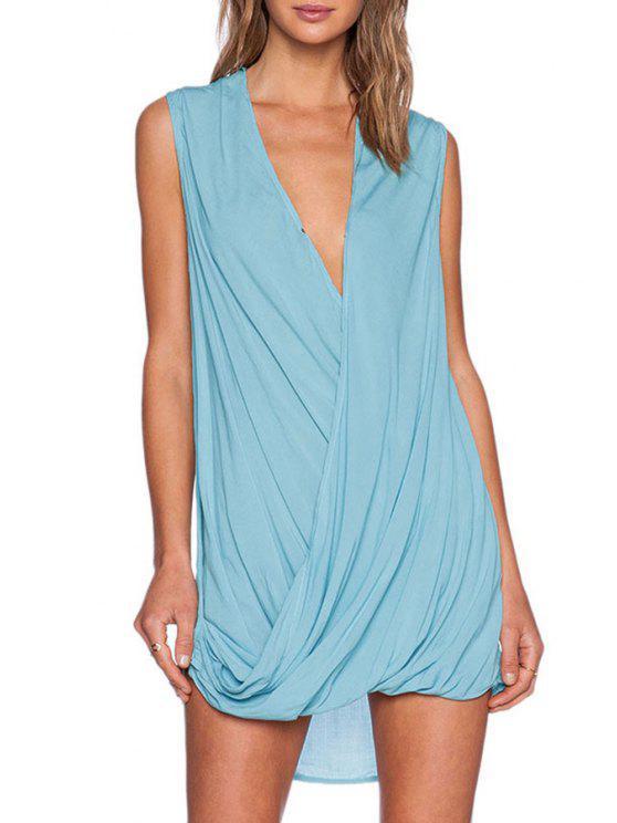 women Blue Plunging Neck Sleeveless Chiffon Dress - AZURE ONE SIZE(FIT SIZE XS TO M)