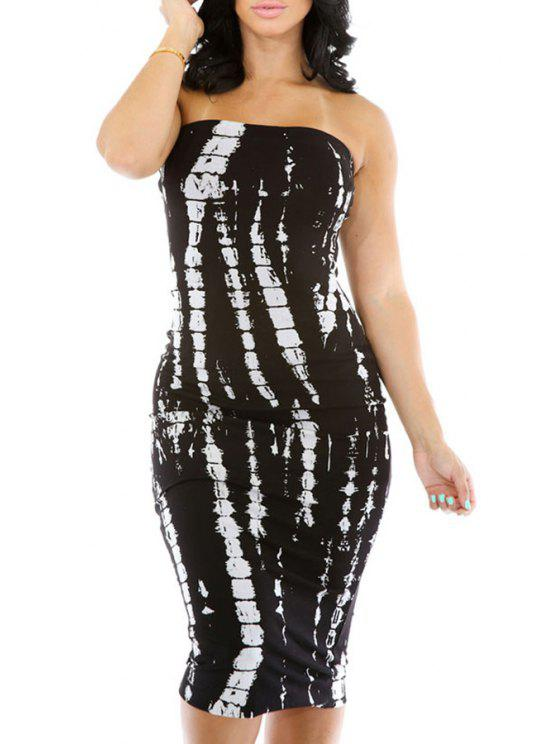 shop Print Strapless Bodycon Dress - WHITE ONE SIZE(FIT SIZE XS TO M)