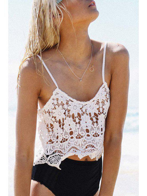 hot Openwork Lace Hook White Tank Top - WHITE S