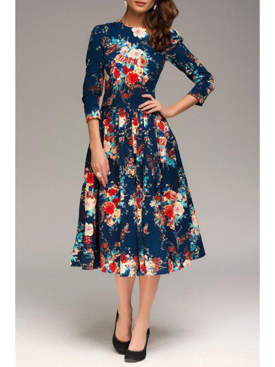 womens Colorful Floral Print 3/4 Sleeve Dress - PURPLISH BLUE S