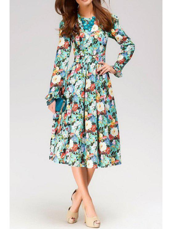 outfit Round Neck Floral Print Long Sleeve Dress - LIGHT BLUE S